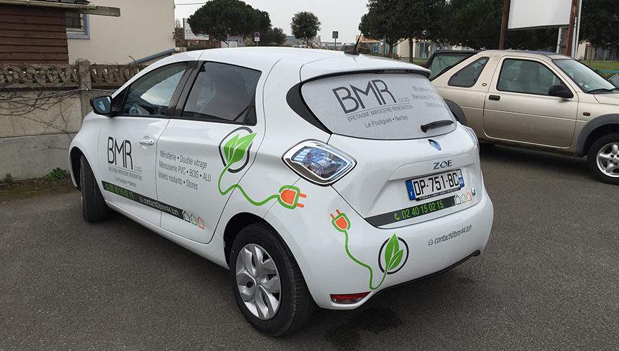 Marquage véhicule vitre-arrière microperforé impression numérique